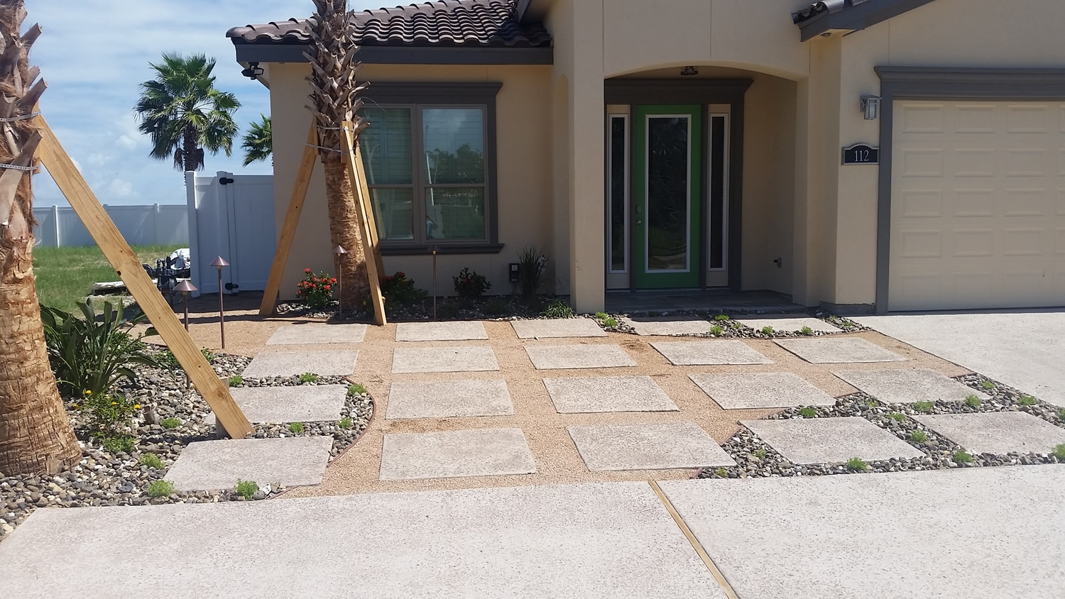 Landscaping hardscapes on residential home
