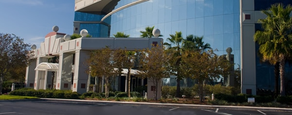 Commercial building with beautiful landscaped entrance